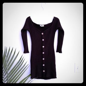 Black Bodycon Button-Up Ribbed Dress